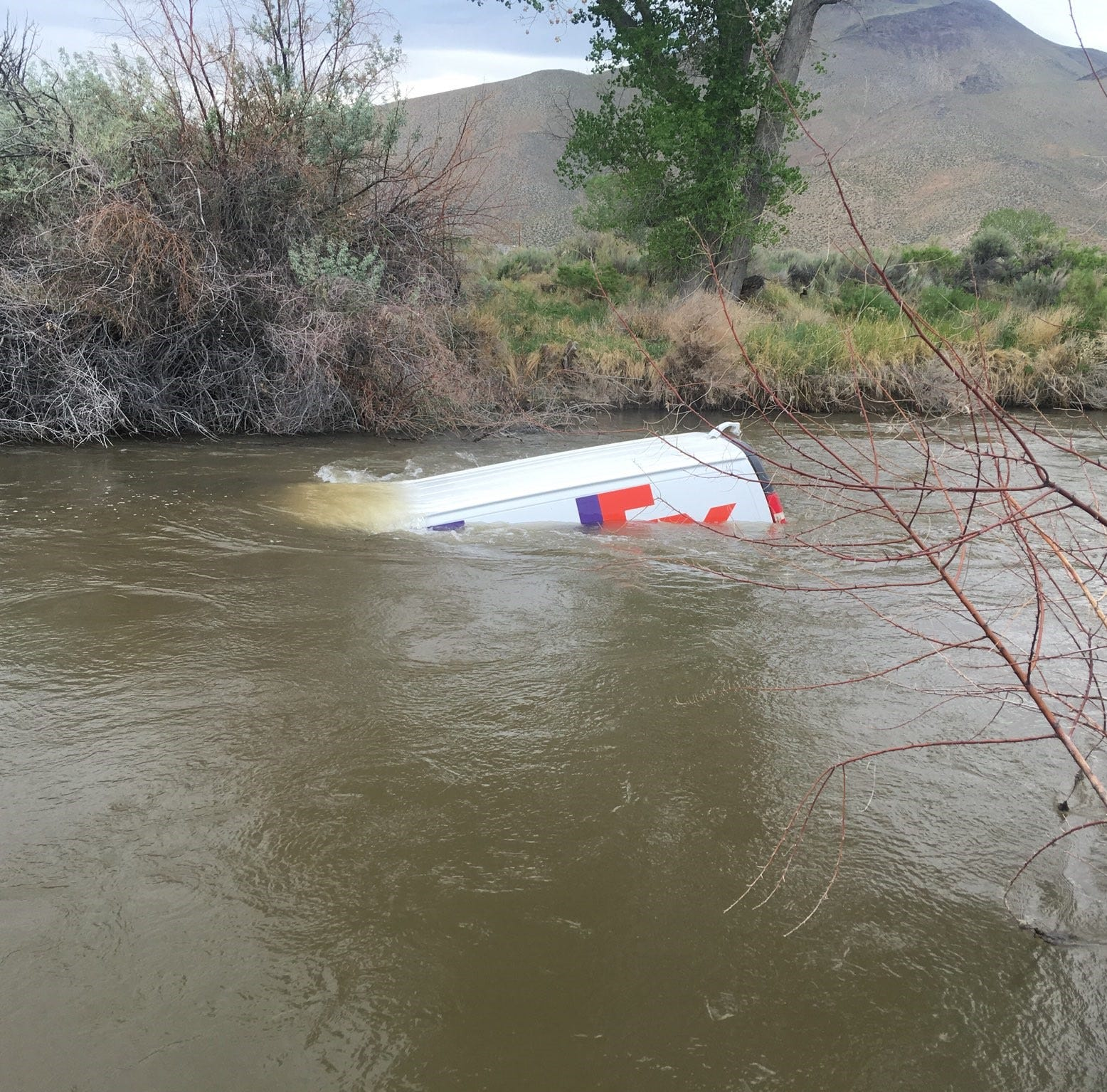 FedEx van floating down Walker River south of Yerington