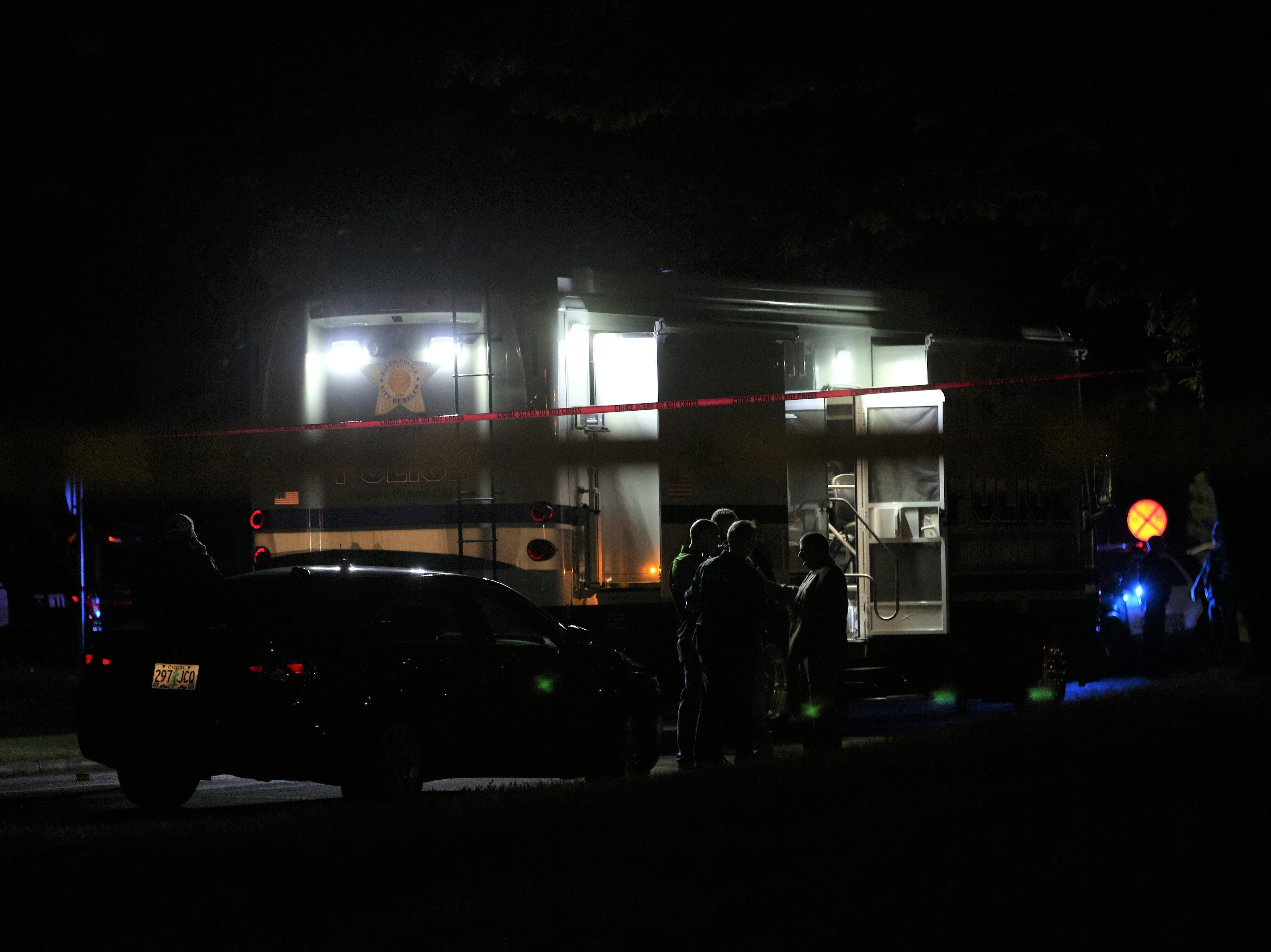 Salem Police set up a mobile command unit near Highland Elementary School in Salem on May 14, 2019.