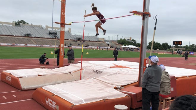 Bronte High School's Katelyn Bohensky clears 10 feet in the Class 1A girls pole vault Friday, May 10, 2019, at the UIL State Track and Field Championships at Mike A. Myers Stadium in Austin, Texas.