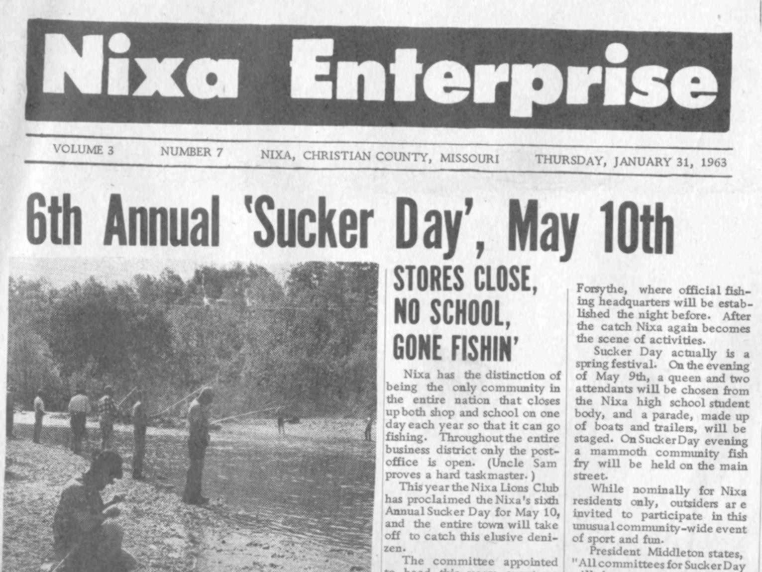 Sucker Day was featured on the front page of the Nixa Enterprise in 1963.