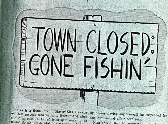 A news clipping from the city of Nixa's collection of vintage Sucker Days photos.