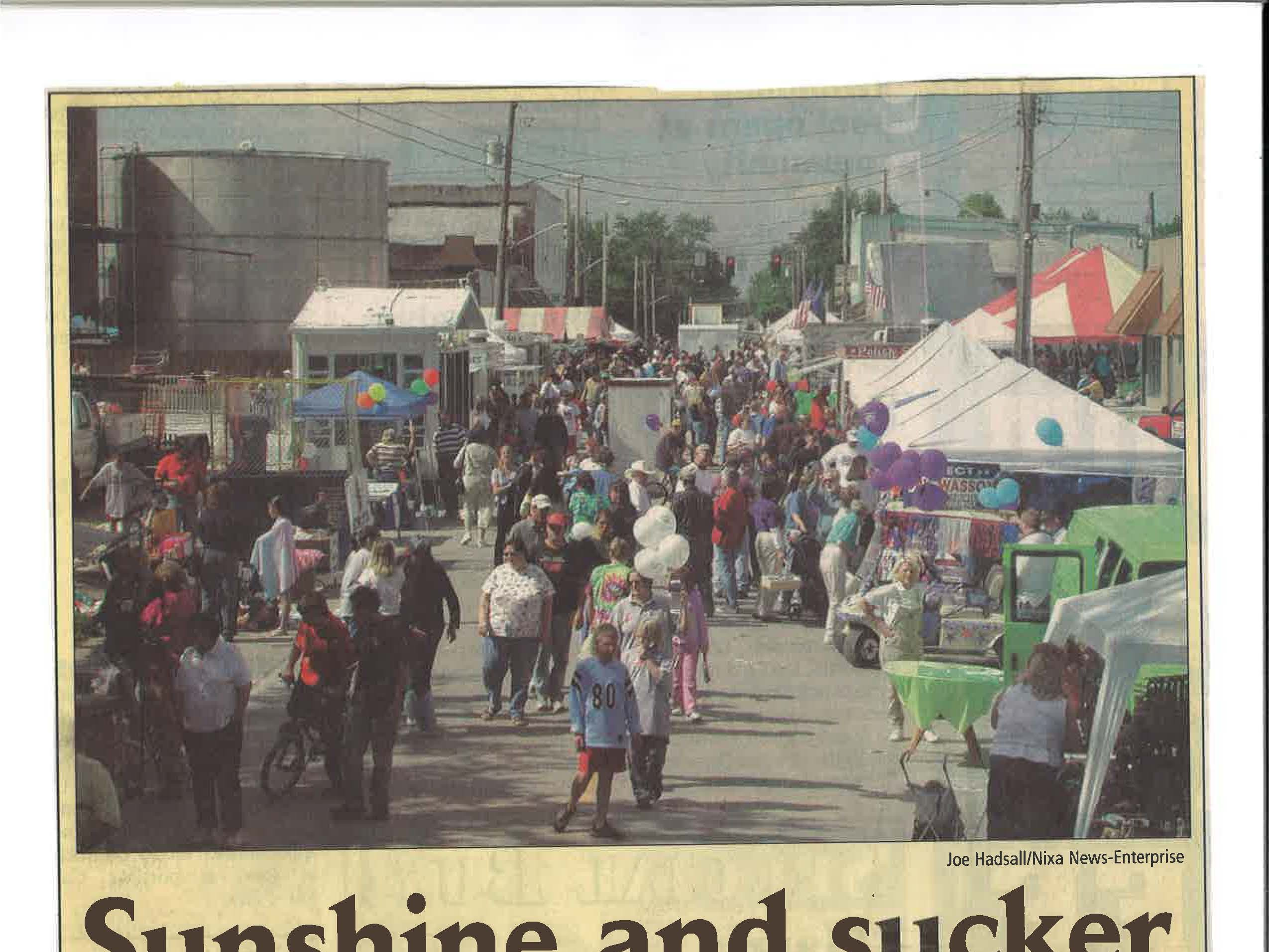 A news clipping from 2002 from the city of Nixa's collection of vintage Sucker Days photos.
