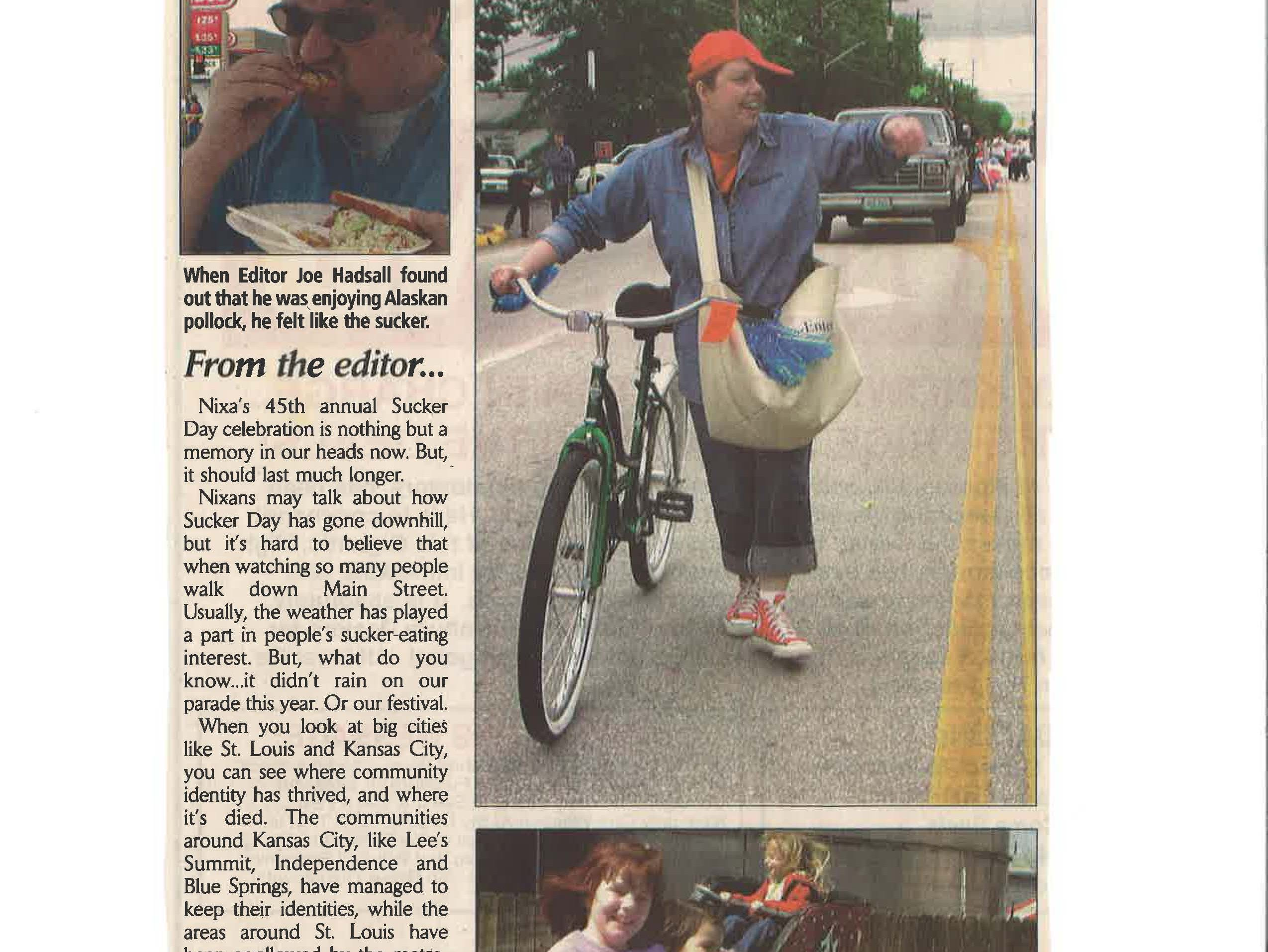 A Sucker Day news clipping from 2002.  From the city of Nixa's collection of vintage Sucker Days photos