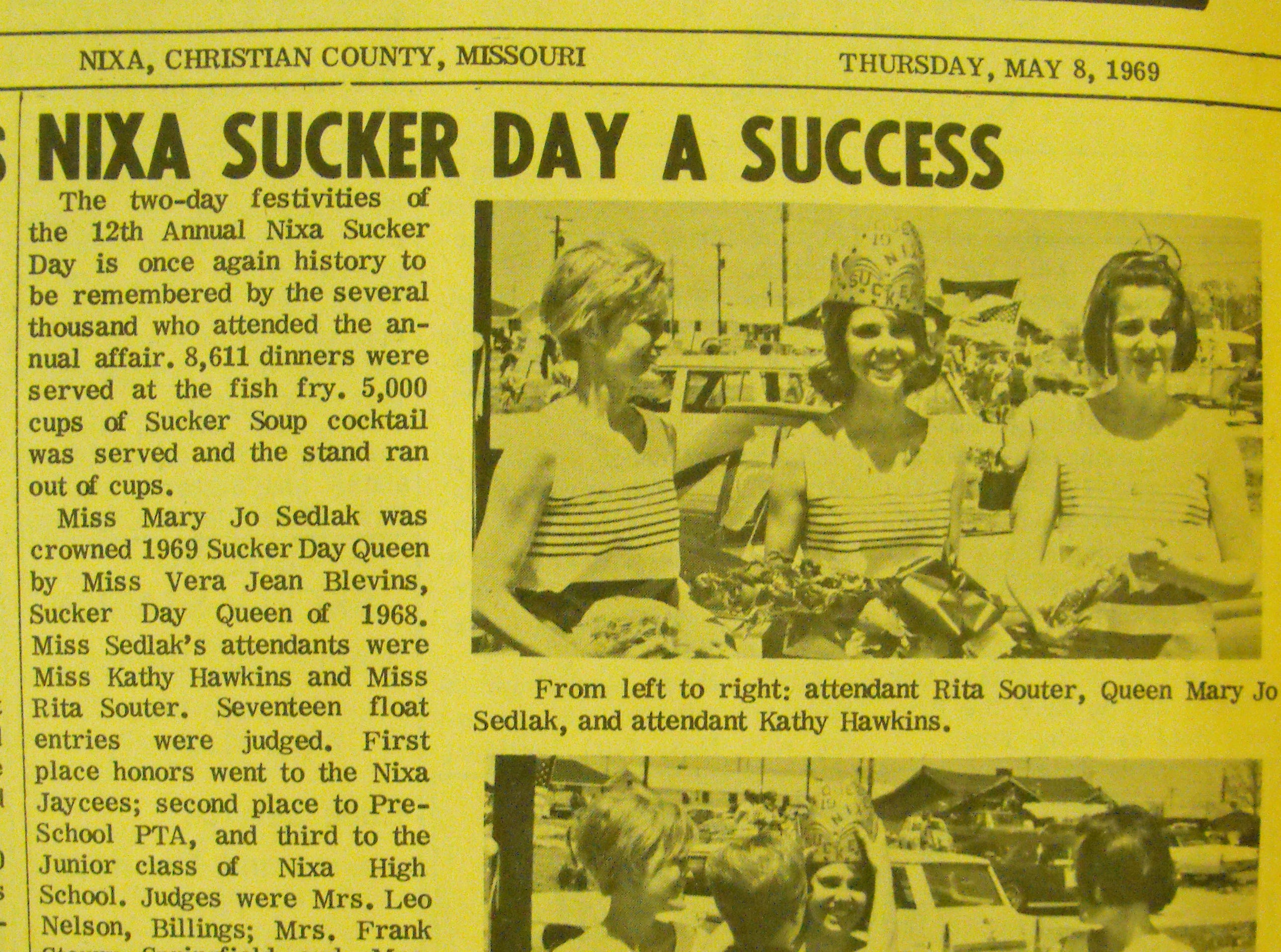 A 1969 news clipping from the city of Nixa's collection of vintage Sucker Days photos.