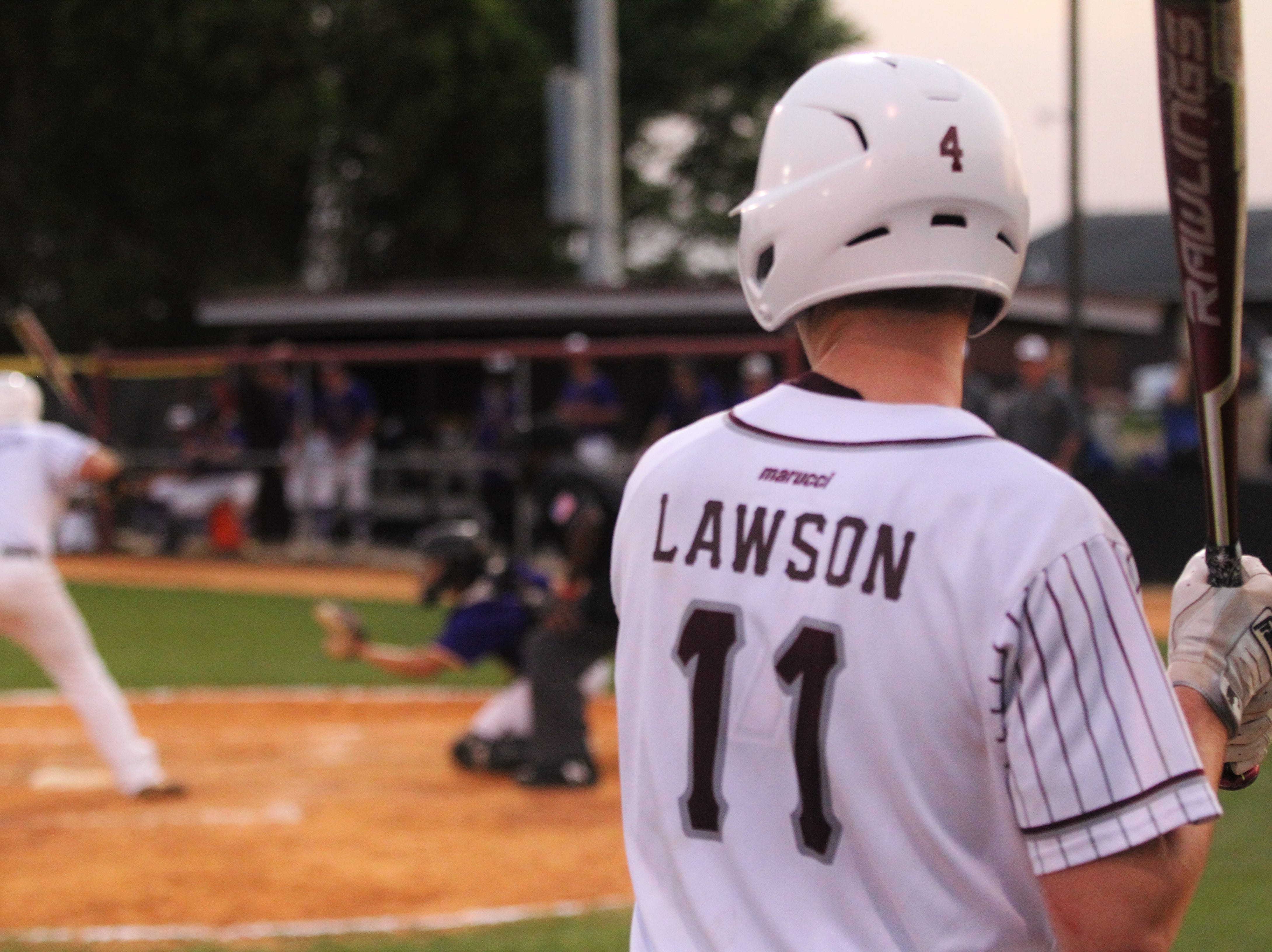 Madison County senior Dilan Lawson waits on deck as the Cowboys beat Union County 1-0 during a Region 2-1A semifinal on May 14, 2019.