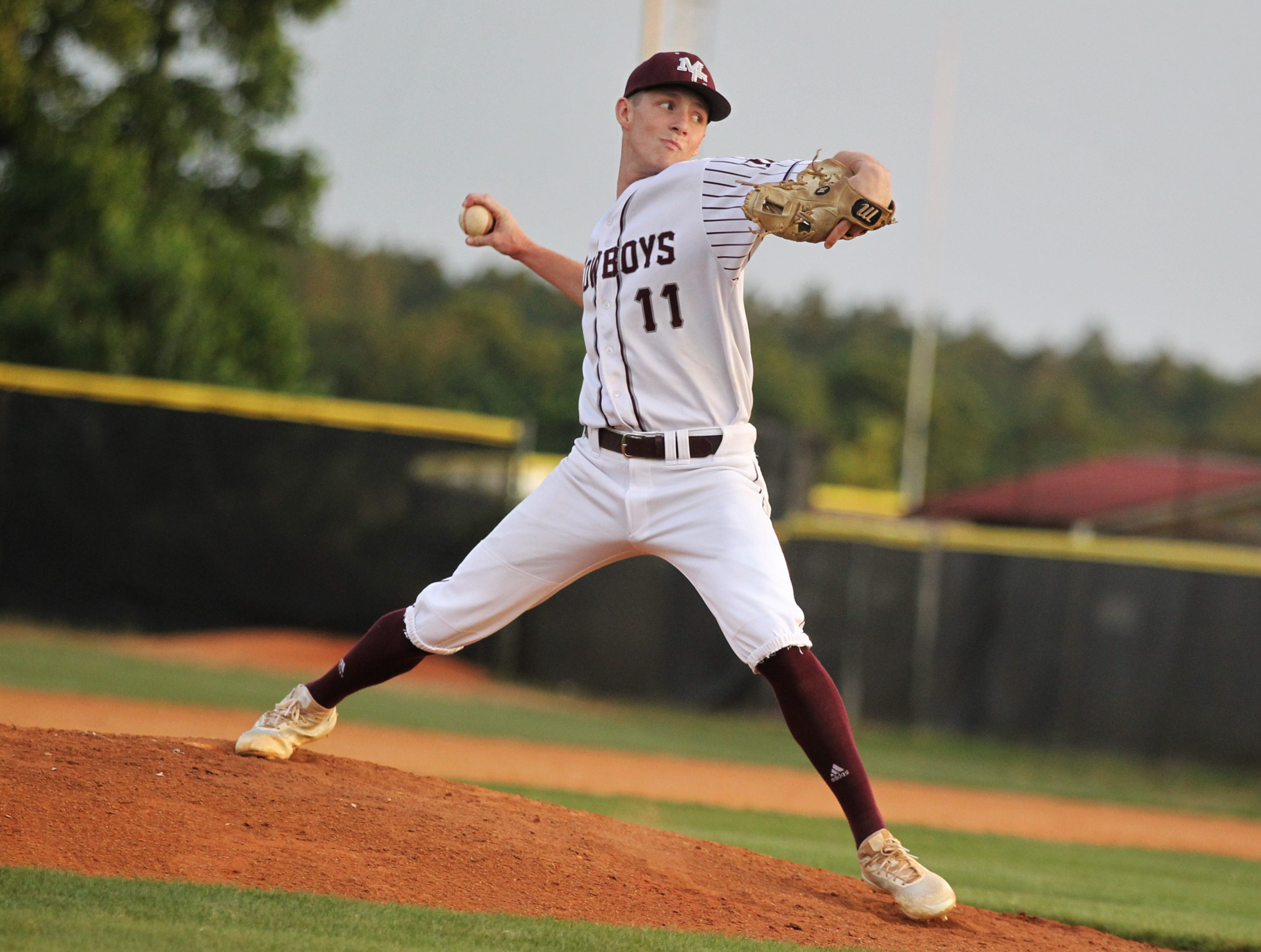 Madison County senior Dilan Lawson pitches in relief as the Cowboys beat Union County 1-0 during a Region 2-1A semifinal on May 14, 2019.