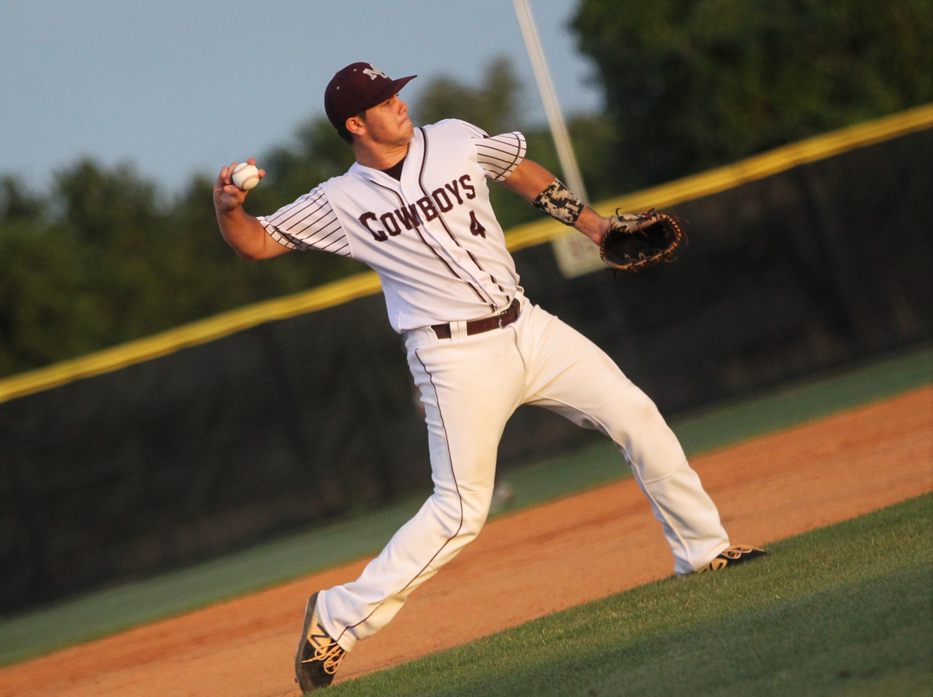 Madison County third baseman Dawson Rutherford throws to first as the Cowboys beat Union County 1-0 during a Region 2-1A semifinal on May 14, 2019.