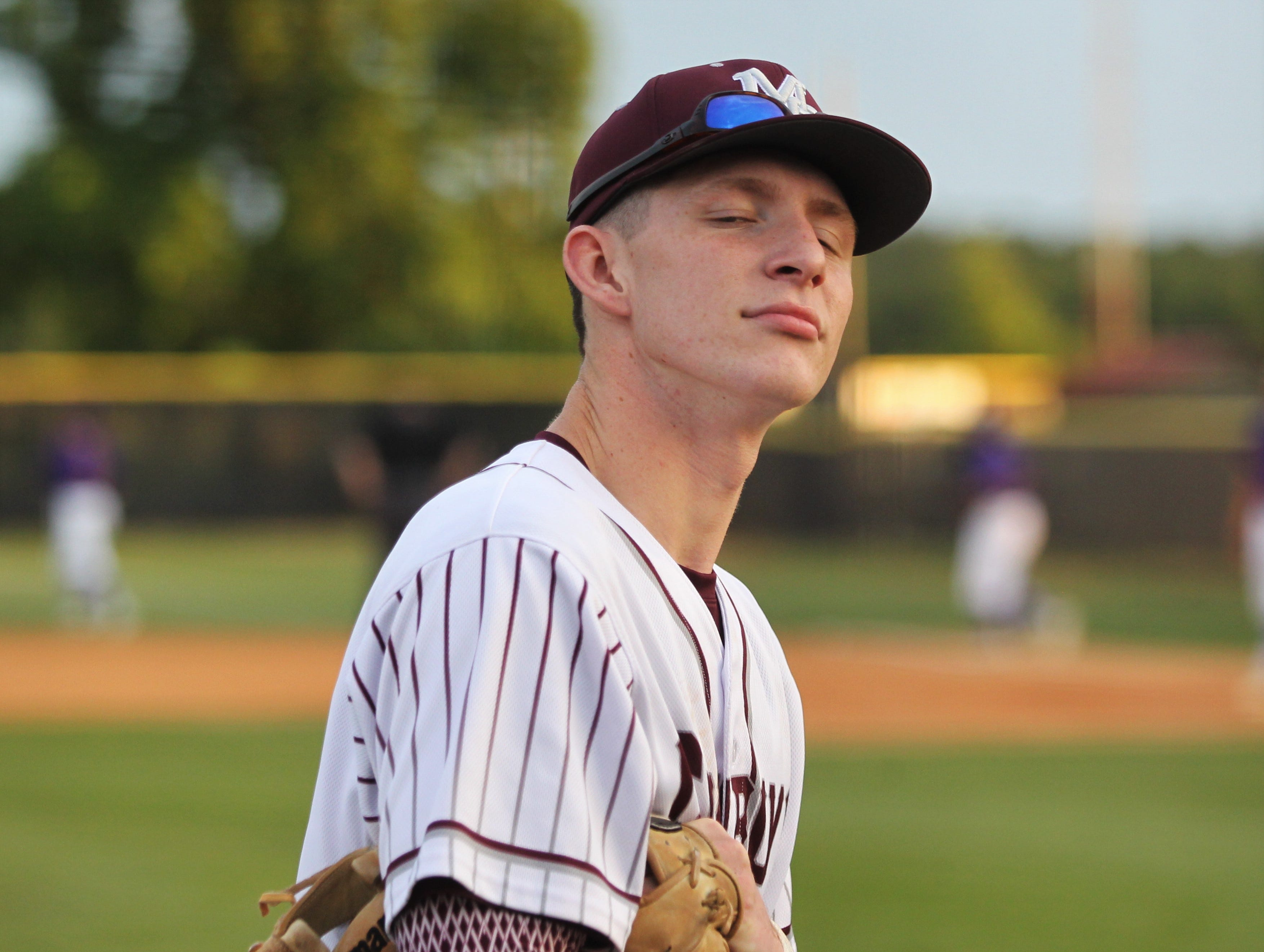 Madison County senior Dilan Lawson looks longingly at the camera as the Cowboys beat Union County 1-0 during a Region 2-1A semifinal on May 14, 2019.