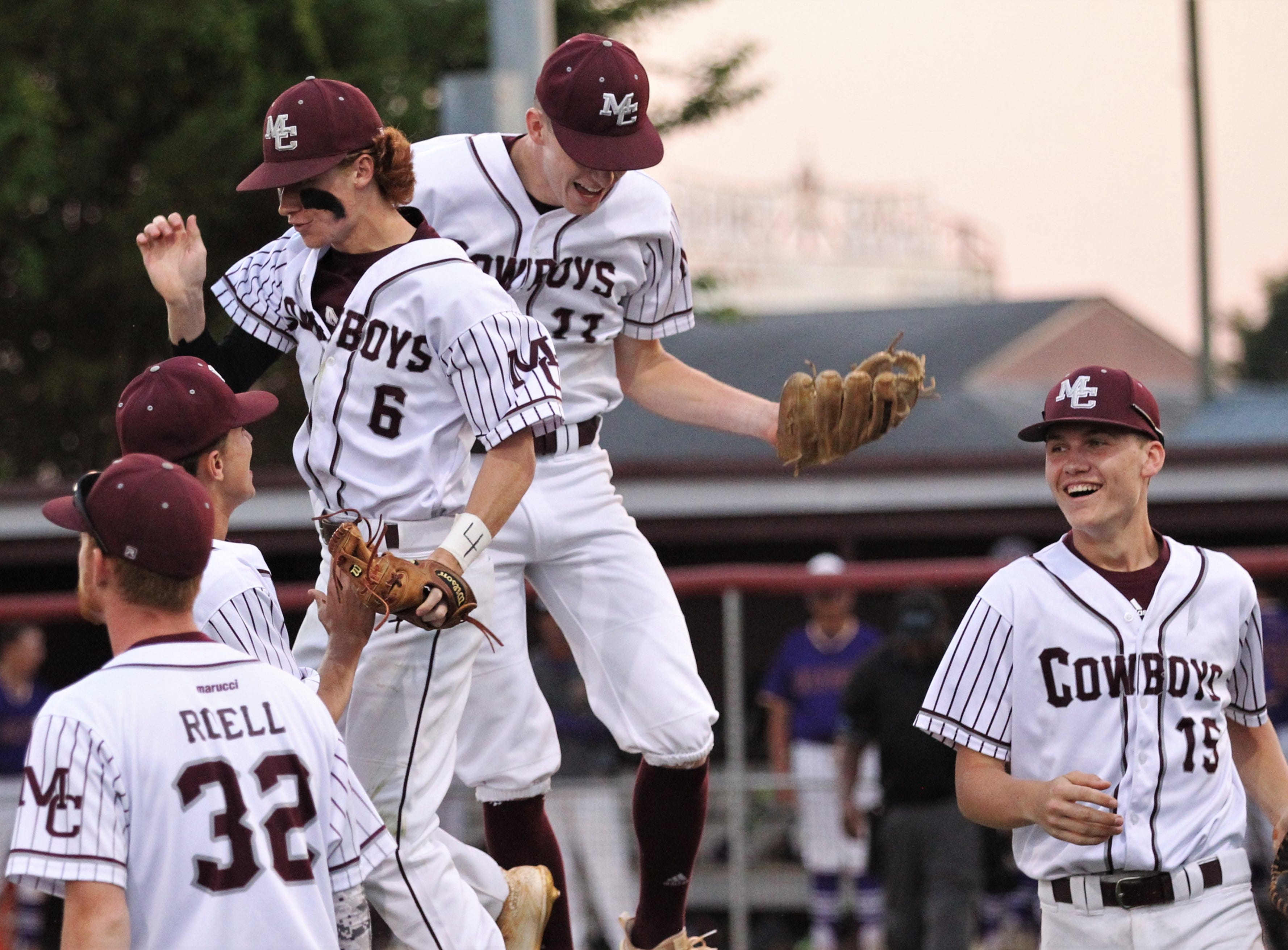 Madison County pitcher Dilan Lawson celebrates after making an important running catch in the sixth inning as the Cowboys beat Union County 1-0 during a Region 2-1A semifinal on May 14, 2019.