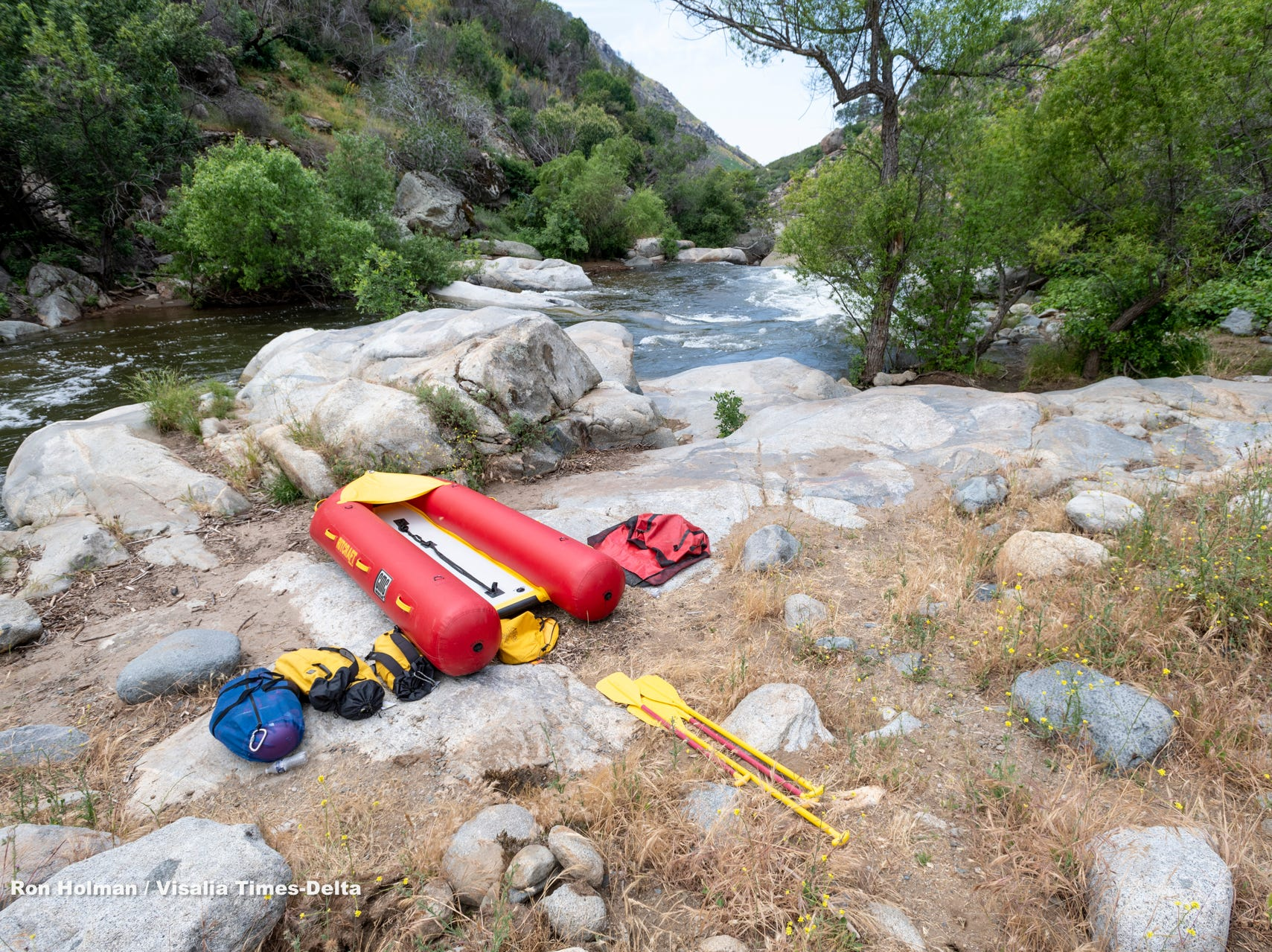 """Tulare County Sheriff Department Search and Rescue continue to search along the Middle Fork of the Tule River about one mile down from the """"Stairs"""" on Monday, May 13, 2019. A 16-year-old boy was last seen after he fell into the water at the Stairs about 6 p.m. Sunday."""