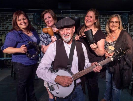 """Jennifer Toledo, left, Kristeina Wolfert, Pete Chambers, Velva Hampson and Dana Hight bring musical hits from the 1960s and 70s to life in Visalia Players' """"Jukebox Cabaret."""""""