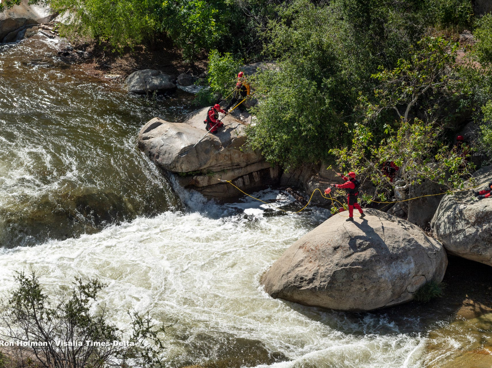 """Tulare County Sheriff Department, Search and Rescue and Tulare County Fire resume the search for 16-year-old boy near the """"Stairs"""" on Tuesday, May 14, 2019. The boy was last seen after he fell into the water at the Stairs about 6 p.m. Sunday."""