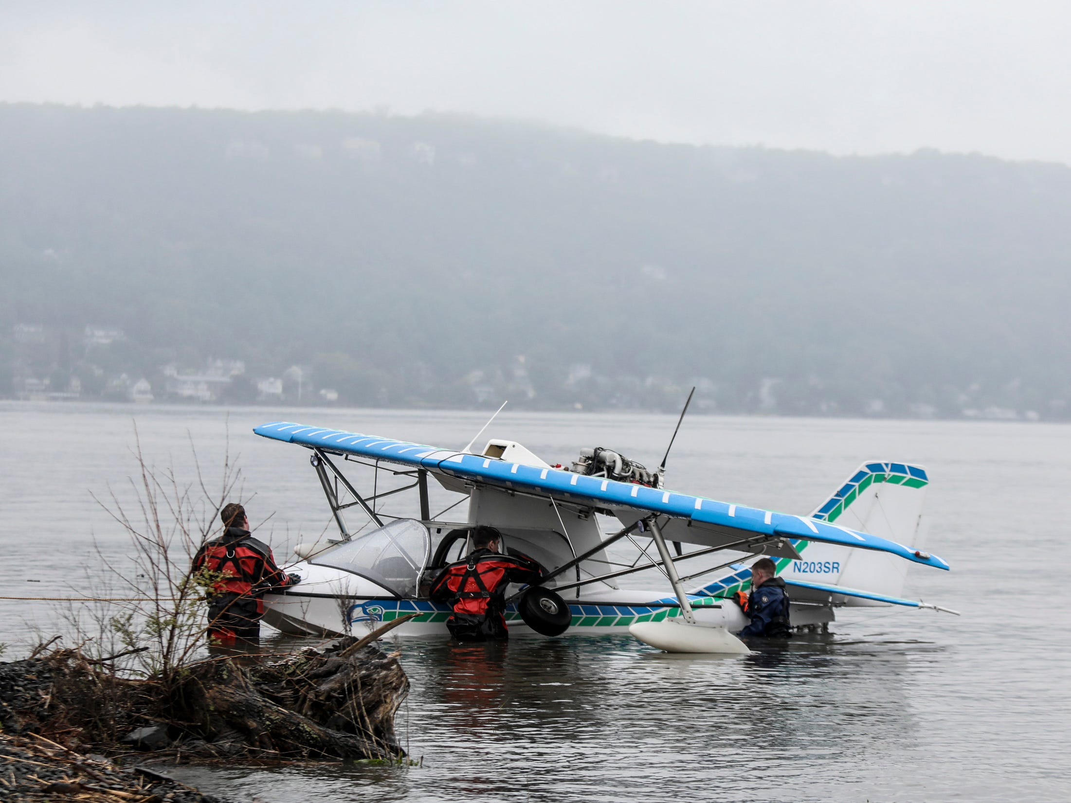 A sea plane made an emergency landing off of Dobbs Ferry and was pulled to shore by the Piermont Fire Dept on Tuesday, May 14, 2019.