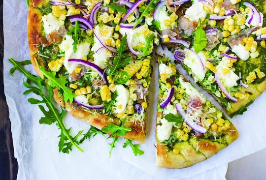 Grilled Pizza with Arugula Pesto, Corn and Ham