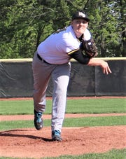 River View's Jaxon Rinkes throws a pitch in Tuesday's 9-0 win over Philo in a Division II baseball sectional final.