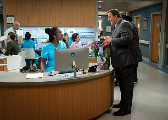 "After a heart attack, a middle-aged sock businessman from Detroit unexpectedly falls for his cardiac nurse, a Nigerian immigrant,  in  CBS comedy ""Bob ❤ Abishola,"" starring Folake Olowofoyeku and Billy Gardell."