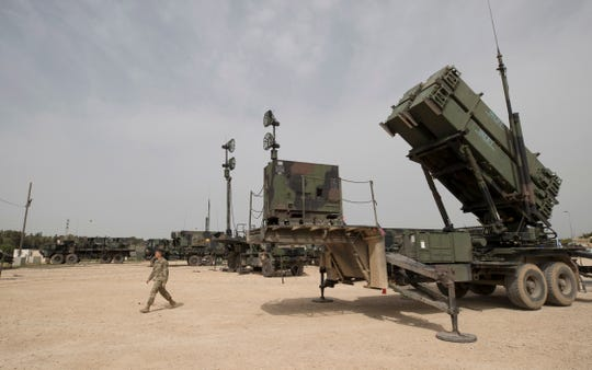 A U.S. Patriot missile defense system is seen at the Israeli Air Force Base of Hatzor, Israel, on March 2018.