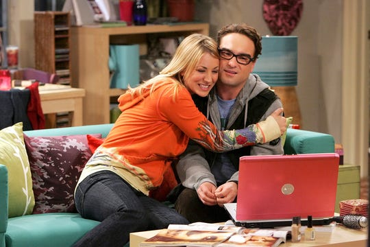 Leonard (Johnny Galecki), right, asked Penny (Kaley Cuoco) on a date in the Season 1 finale of 'The Big Bang Theory.' They're now happily married.