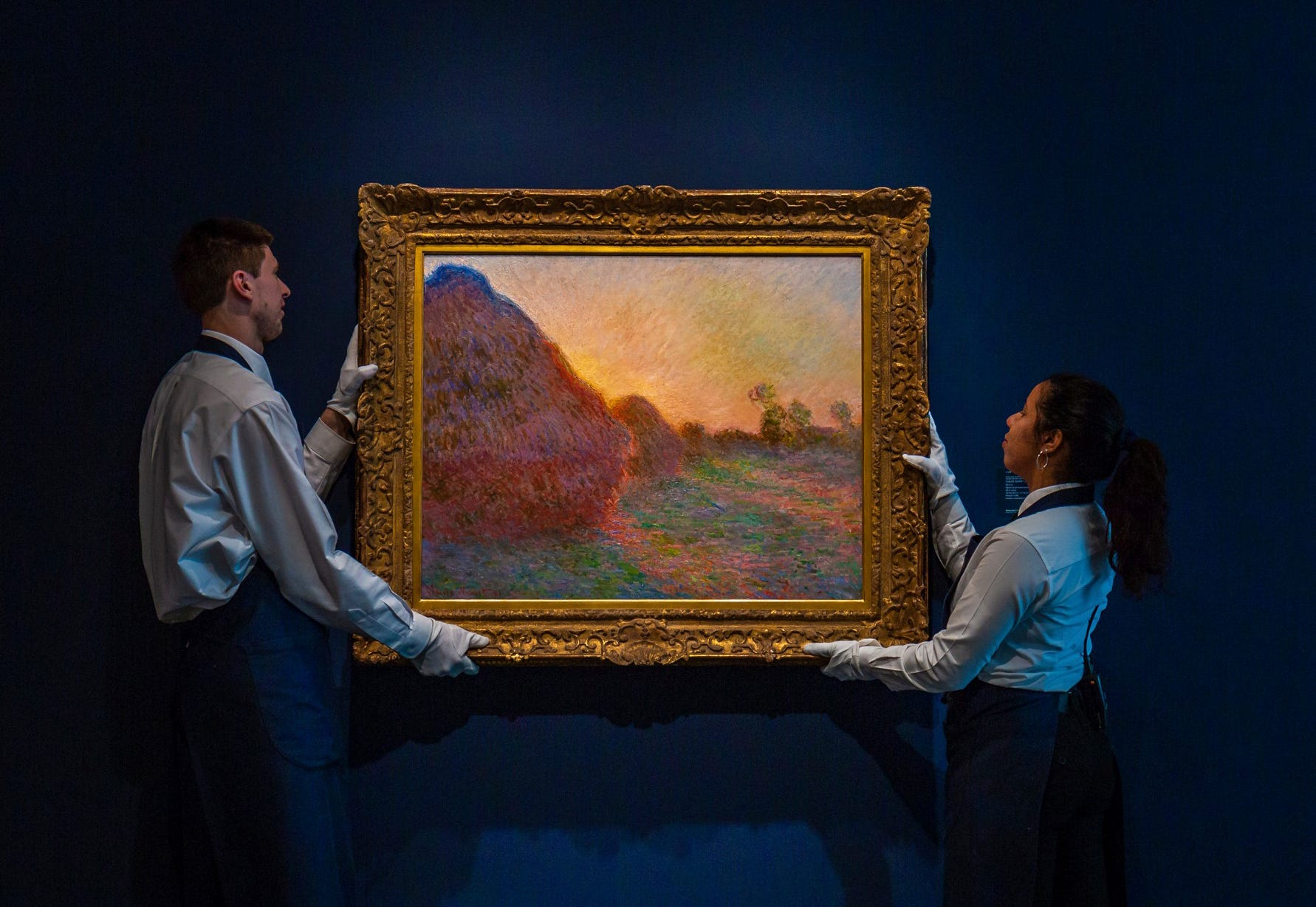 Claude Monet haystack painting fetches record $110.7M at NY auction
