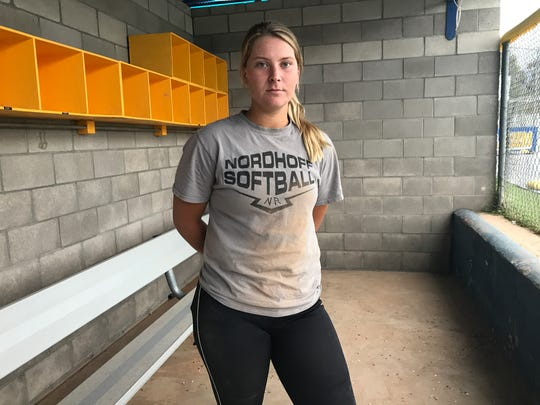 Nordhoff High senior Sydnie Wimpee is focused on Friday's CIF-Southern Section Division 6 softball championship game in Irvine.