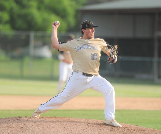 Haskell pitcher Aaron Skiles delivers during Game 2 of a Region I-2A quarterfinal baseball series against Albany.