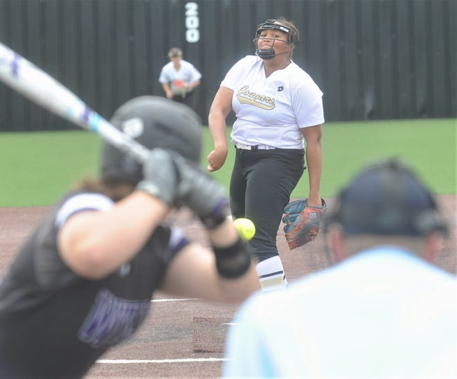 The Colony starting pitcher Karlie Charles throws a pitch to a Wylie batter in the second inning. The Colony beat Wylie 12-5 in Game 2 of the Region I-5A semifinal series May 17 at Graford. The Colony swept the series 2-0 to earn a state berth.