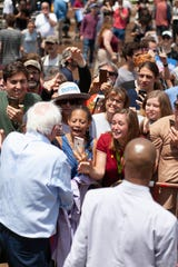 Bernie Sanders speaks at Salvage Station in Asheville, May 17 2019