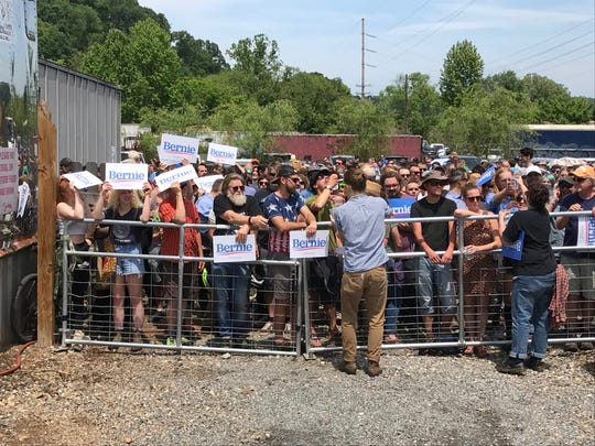 The Bernie Sanders rally crowd has been capped at 2,000 by fire marshal and permit, so many fans can't get inside Salvage Station.