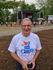 Former Asheville City Council member Cecil Bothwell at the Bernie Sanders rally at Salvage Station on May 17, 2019.