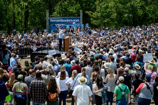 Bernie Sanders speaks at Salvage Station in Asheville May 17, 2019.
