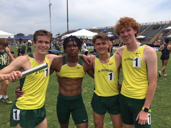 Reynolds' Zach Crain, Adam Graham, Dwayne Lillie and Lawson Robertson pose after finishing second in the 4x800 meter relay at the NCHSAA 3A state track and field championships on May 17.