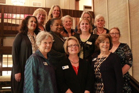 The leadership circle for the Women's Giving Circle of Kitsap Peninsula. Bottom row (L to R) : Anne Blair, Audrey Wolfe, Patty Lent; middle row (L to R): Ruth Bernstein, Tracy Flood, Beverly Kincaid, Shaine Schramling, Cheryl Benson; top row (L to R): Vicky Webb, Elizabeth Wrenn, Donna Moreland, Gina Schultz