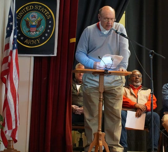"""David Rozzell takes the stage in Old Fort in 2018 for a reading of """"Brothers Like These."""""""