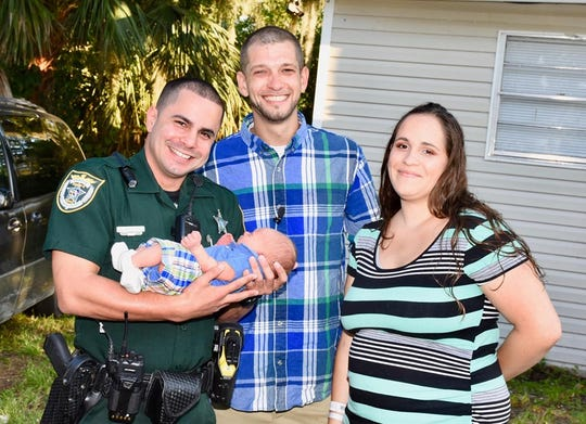 Deputy Johnny Narvaez was able to help a Cocoa couple deliver their child in a Circle K parking lot. He was invited to officially meet the newborn a few days later.