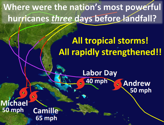 National Hurricane Center Director Ken Graham displayed this PowerPoint slide as a warning during the Governor's Hurricane Conference in West Palm Beach.