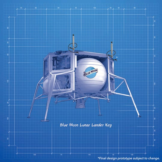 "Blue Moon Brewing Company announced their limited edition kegs in honor of Blue Origin's lunar lander named ""Blue Moon."""