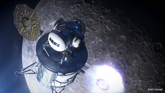 An artist's rendering of the human lander component of NASA's 2024 mission to return to the moon.