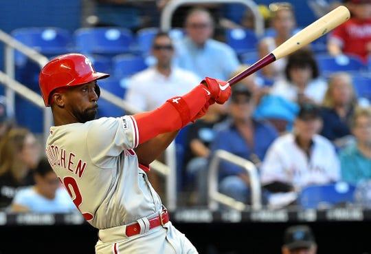 Apr 13, 2019; Miami, FL, USA; Philadelphia Phillies center fielder Andrew McCutchen has led off in 43 games this season.