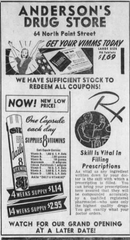 An advertisement for Anderson's Drug Store, formerly located at 64 North Paint Street, from a November 1944 issue of the Gazette.
