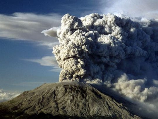 Mount St. Helens in Washington erupts in 1980.