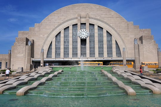 The fountain is flowing again outside of the Cincinnati Museum Center at Union Terminal. The water had been turned off for three summers during renovation and it took 57 truckloads of concrete and 44,000 gallons of water to be restored.