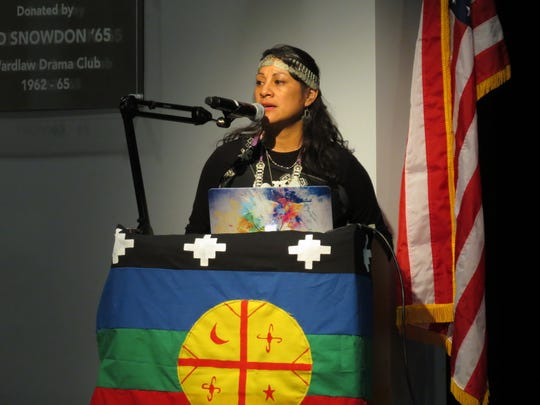 Relmu Ñamku, an indigenous person from Argentina who is a representative of the first nations, shared her story with Upper School students and fifth graders.