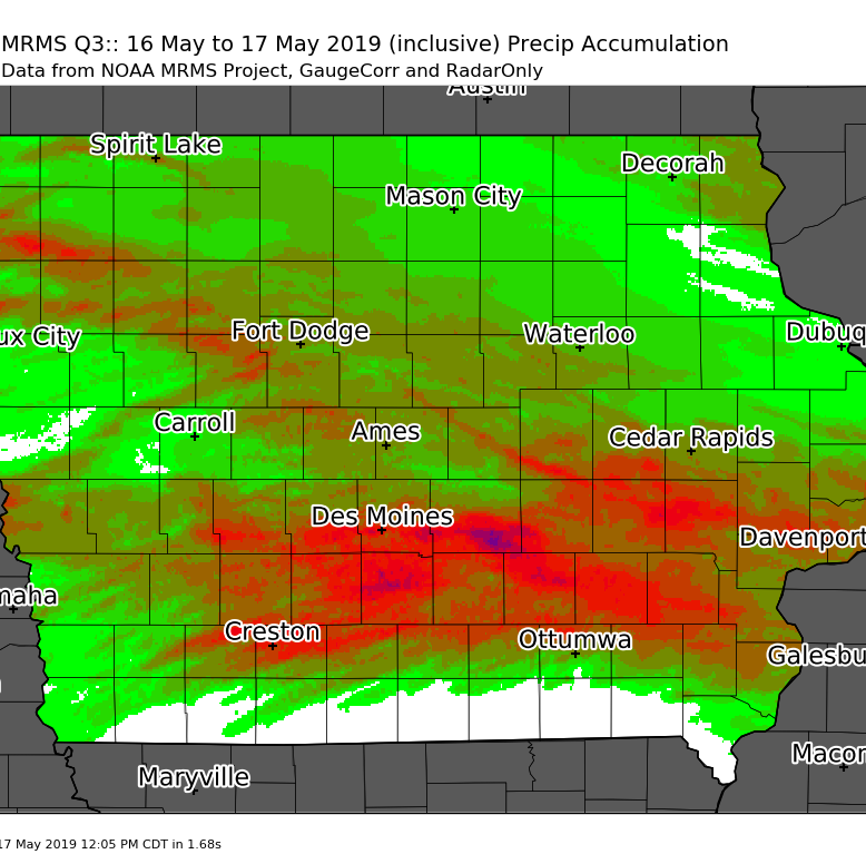 How much rain fell in Des Moines and the rest of Iowa overnight?