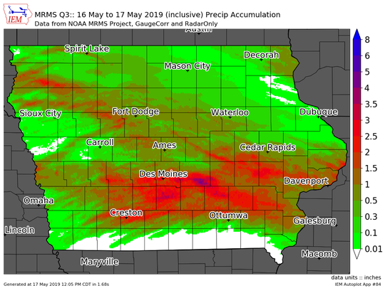 Precipitation totals across Iowa from May 16 to 12 p.m. May 17