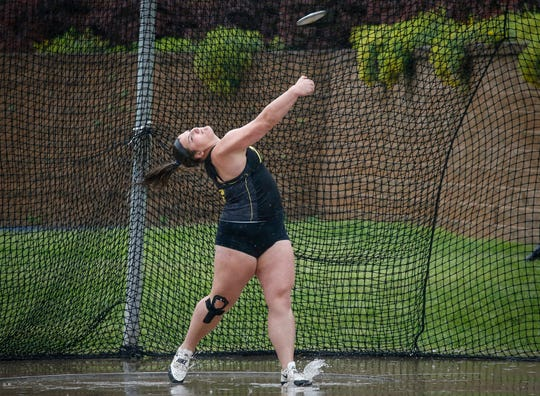 Tipton senior Jamie Kofron throws the discus to a Class 2A state championship win during the 2019 Iowa high school track and field state championships at Drake Stadium in Des Moines on Friday, May 17, 2019.