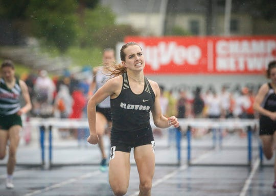 Glenwood senior Janette Schraft won a state title in the Class 3A 400-meter hurdles during the 2019 Iowa high school track and field state championships at Drake Stadium in Des Moines on Friday, May 17, 2019.