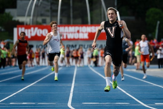 Valley's Jake Keller crosses the finish line to win the 4x100 relay at the 2019 High School State Track Meet on Friday, May 17, 2019, in Des Moines. Their time of 1:26.17 broke the all-time record for the event.