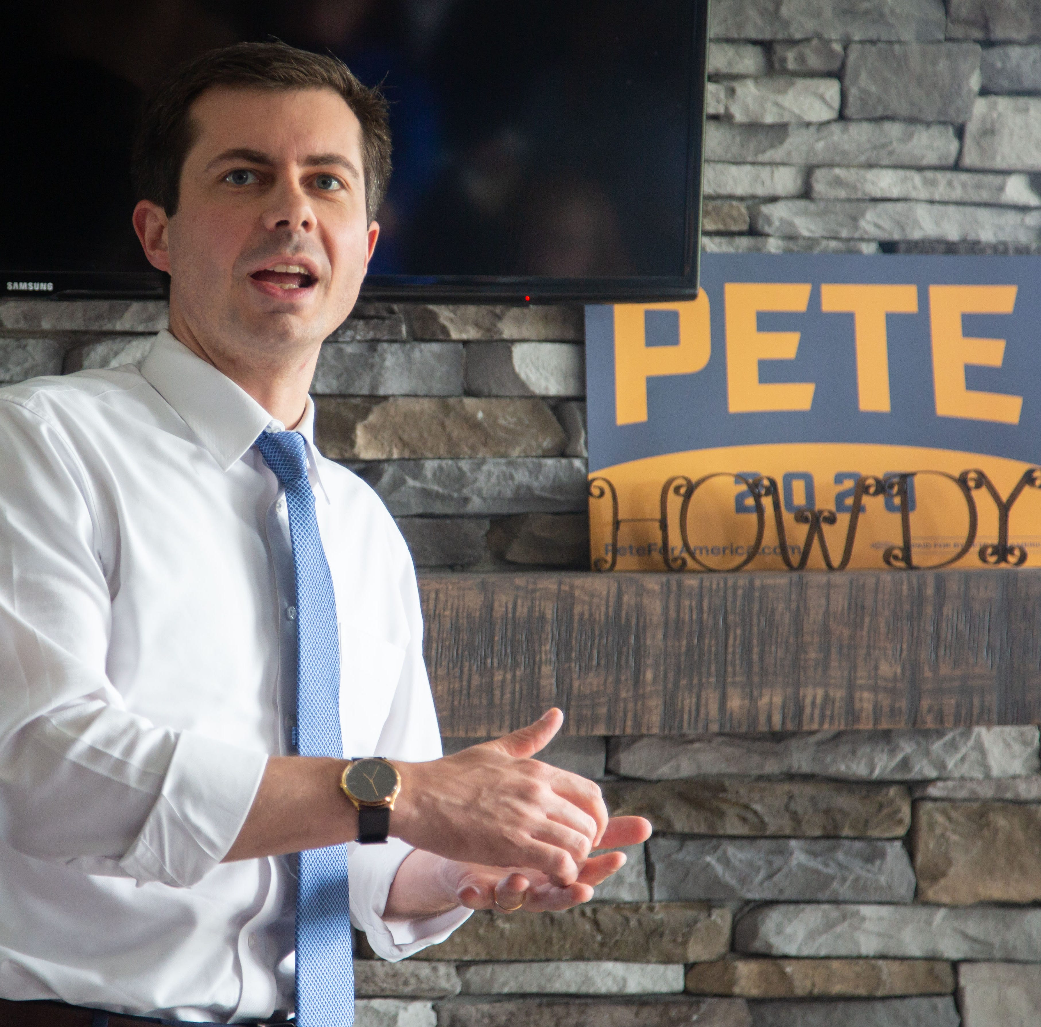 Democratic presidential candidate South Bend Ind., Mayor Pete Buttigieg speaks at a home in Adel, Iowa Friday, May 17, 2019.