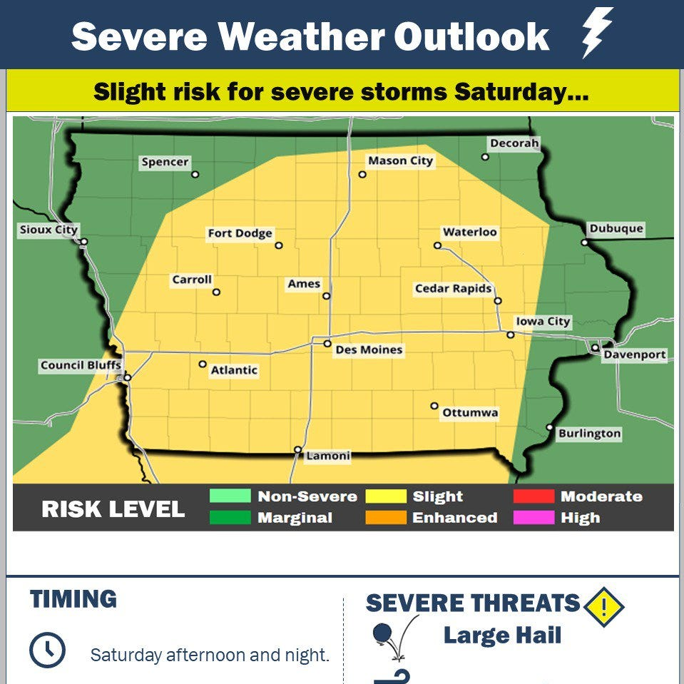Storms expected through weekend as large hail, heavy rain and power outages pelt central Iowa