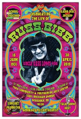 This poster marking Russ Gibb's memorial service was created by rock illustrator Dennis Loren.